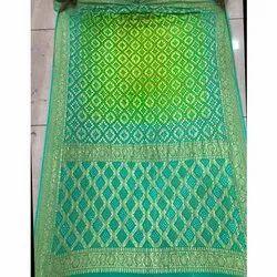 Wedding Neem Zari Bandhani Silk Saree, 6.3 m (with blouse piece)