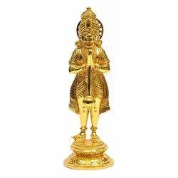 Standing Hanuman Gold Plate Statue 5 Inch