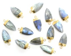 Labradorite Gold Electroplated Shark Tooth Shape Pendant