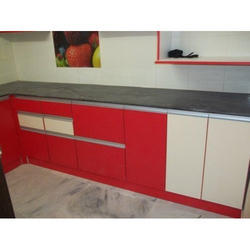 Alex Red And White Modular Kitchen Cabinet