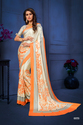Orange & Beige Satin Silk Classic Saree