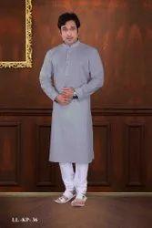 SILK INDIA Long Designer Men Kurta Pajama, Round
