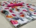 Women's Beautiful Flower Printed Linen Cotton Saree with satin Patta with Blouse Piece