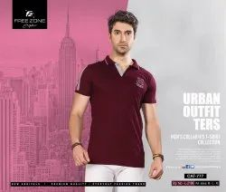 Cotton Plain Free Zone Men Maroon T Shirt, Size: Available in M,L and XL