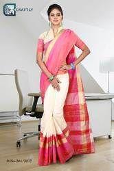 Pink and Cream Uniform Saree