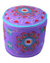 Round Floral Embroidered & Patchwork Cotton Big Pouf Bench
