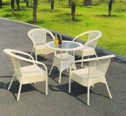 Garden Rattan White Furniture Set