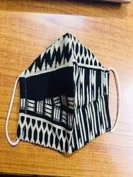 black Reusable Printed cotton face mask, Number of Layers: 3