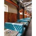 3 Seater Sky Blue Designer Lounge Sofa For Restaurant