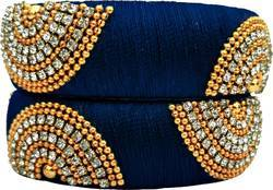 Blue Designer Silk Thread Bangles Set