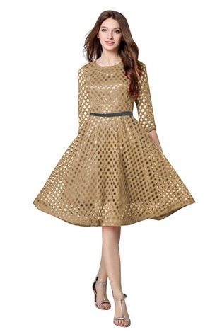 Lace Western Wear Dress In Golden Colour