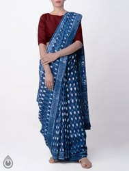 Indigo Hand Printed Soft Cotton Saree