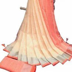 Original Linen Small Checks With Jari Border Sarees