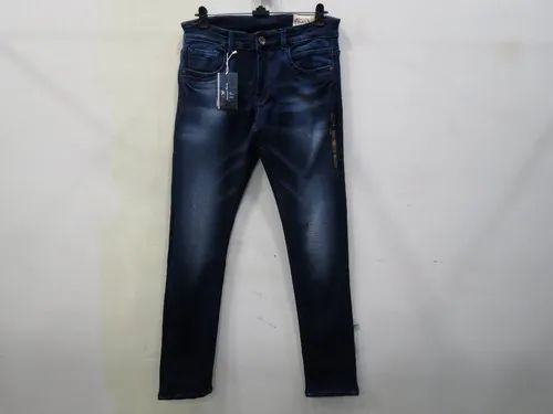 Mens Dark Blue Slim Fit Stretch Jeans (PW-01B)