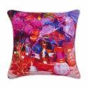 Flower Pot Canvas Cushion Cover