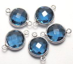 Iolite Quartz Silver Plated Jewelry Bezel Connectors