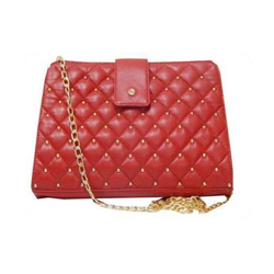 Quilted Leather Hand Bag, Pure Leather: Yes