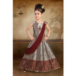Silk Brocade Kids Ethnic Party Wear Gown