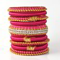 Hot Pink Decorated With Stone Jaipur Silk Thread Bangle Set