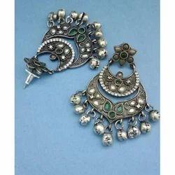 American Diamond Stones Silver Look Earring