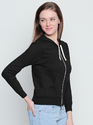 Ladies Black Full Sleeve Hooded T-Shirt