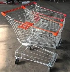 Red Hydraulic Trolley Steel Wire Shopping Trolleys, For Supermarket, Load Capacity: 50-100 kg