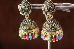 Black Oxidized Fancy Golden Jhumka