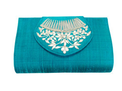 Bridal Clutch Bag in Gota Patti and Raw Silk