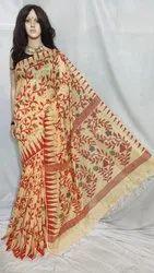 Festive Wear Cotton Silk Jamdani Saree, With Blouse Piece