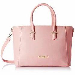 Pink Polyurethane Ladies Caprese Porsche Tote Bag