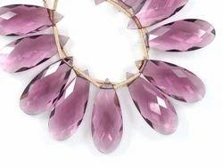 3 Pairs 10x25mm Rhodolite Garnet Quartz Microfaceted Large Pear Briolette Beads