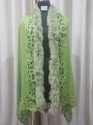 Net Applique Shawl With One Fur Trim