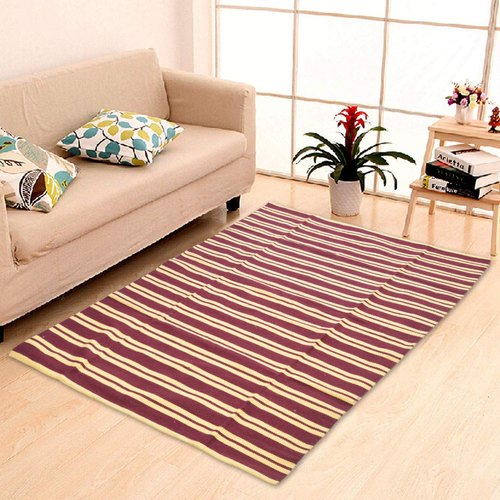 Striped Cosmorugs Maroon And Yellow Cotton Rug, Size: 4x6 Feet