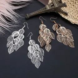 Silver Geometric Multi-layer Leaves Earrings, Packaging Type: Polythin Packing