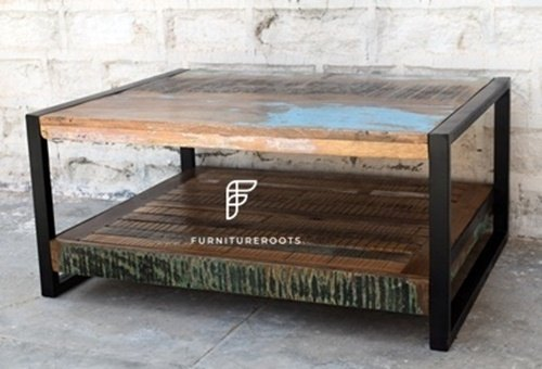 Resort Furniture Vintage Coffee Table In Reclaimed Wood Hotel Bar