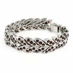 Ethnic Garnet Sterling Silver Bracelet