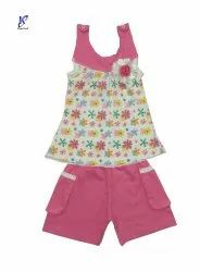 Girl Fancy Kids Baby Sleeveless Floral Print Top and Pant