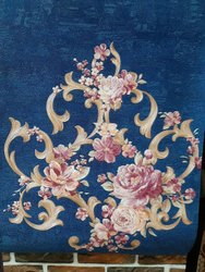 Blue Embosed Flower