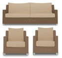 Modern Straight Line Sofa Set (Brown & Beige)