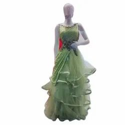 Embroidered Olive Green Ladies Party Wear Net Gown