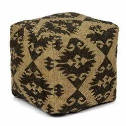 Decorative Kilim Wool Jute Ottoman Pouf