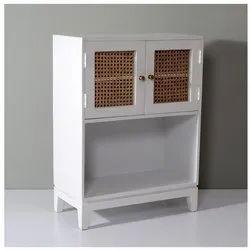 White Wooden Cane Storage Cabinet