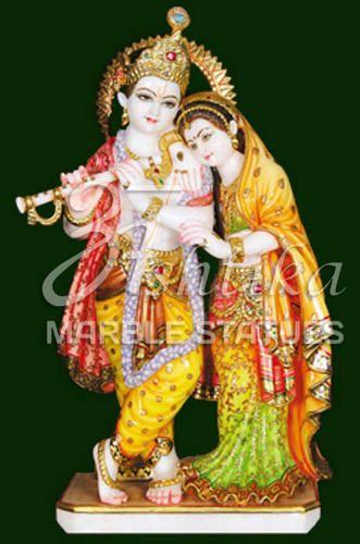 Ashtika Marble Statue Multicolor Radha Krishna Idol Marble