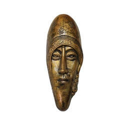 Lady Face Bastar Art Metallic Golden Colour Wall Mount