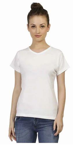 8068c6e1ac0431 V Neck Half Sleeve Plain White T Shirt