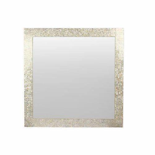 White Mother Pearl Mirror Frame मरर फरम Stone Plus
