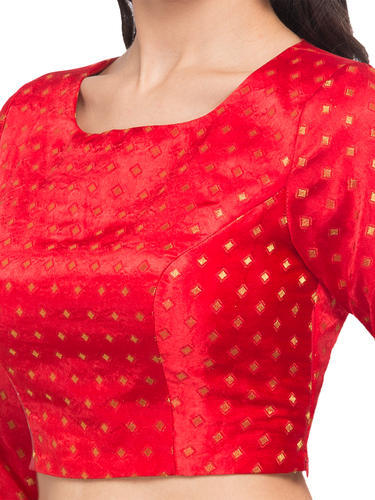 c6a09d4b37930e Just B Dobby Red Print Design And Round Neck Readymade Blouse