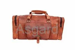 Solid Unisex Leather Duffle Bag, Size: 24