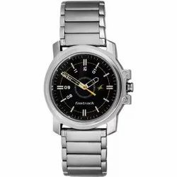 Stainless Steel Silver Fastrack NG3039SM02 Basics Analog Watch - For Men