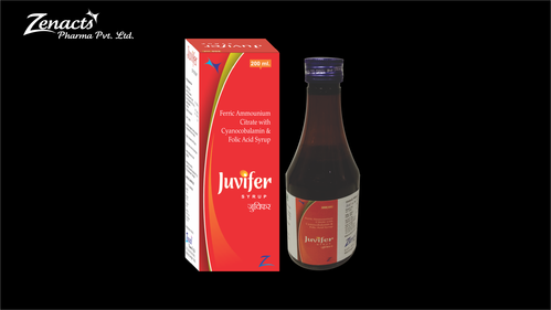 Juvifer Ferric Ammounium Citrate Cyanocobalamin Folic Acid Syrup, Packaging Type: Bottle